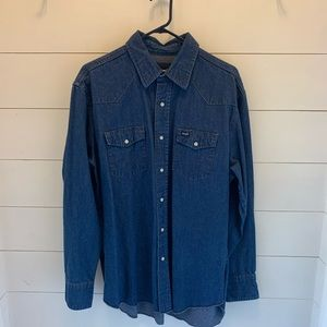 Men's Wrangler pearl snap denim shirt.